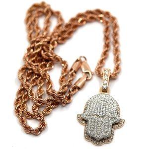 HAMSA 2 carat diamonds Rose Gold 22 inch chain